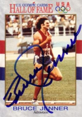 Bruce Jenner autographed U.S. Olympic Hall of Fame card