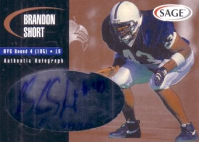 Brandon Short Penn State certified autograph 2000 Sage card