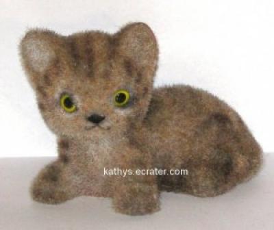 Josef Originals Flocked Laying Tiger Cat Animal Figurine