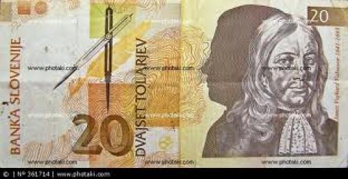 Banknotes; 20 tolar banknote, 1992, Slovenia, Janez Vajkard Valvasor, reverse
