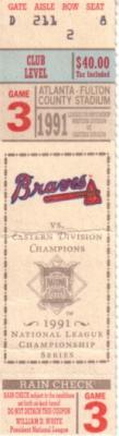 1991 Atlanta Braves National League Championship Series (NLCS) Game 3 ticket stub