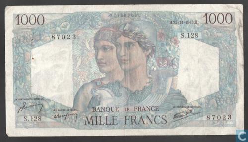"""1000 francs """"Minerva and Hercules"""
