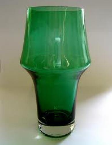 Antiques; Vases - 1950's GREEN GLASS VASE