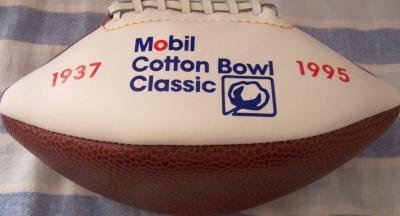 1995 Cotton Bowl mini souvenir football (USC 55 Texas Tech 14)