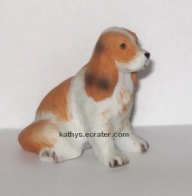 Miniature Porcelain Red White Spaniel Dog Animal Figurine