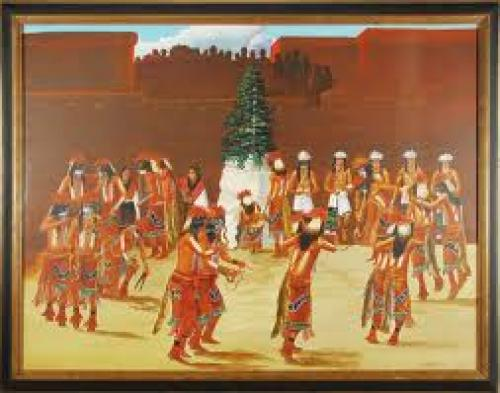 Fine Art Paintings , Title: R. Naha - Snake Dance Painting 1970.