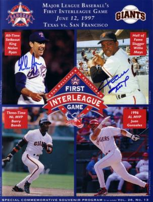 Willie Mays & Nolan Ryan autographed 1997 First Interleague Game program