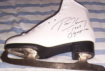 Peggy Fleming autographed ice skate inscribed 1968 Olympics