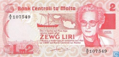 Banknote MALTA 2 LirI 1986