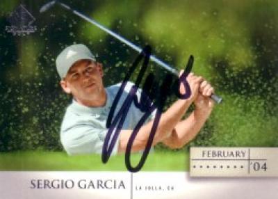 Sergio Garcia autographed 2004 SP Signature Golf card