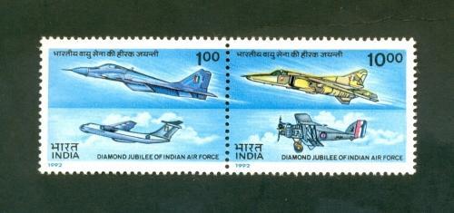 India 1992 Diamond Jubilee of Indian Air Force Se-Tenant S/T Setenant Mint MNH