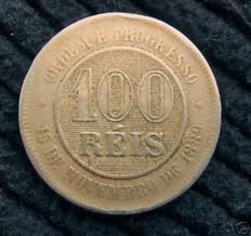 Coins;  Brasil Brazil 100 Reis 1898 Coin