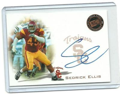 Sedrick Ellis certified autograph USC 2008 Press Pass card
