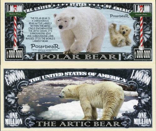 UNITED STATES USA ARCTIC POLAR BEAR USA DOLLAR BILL