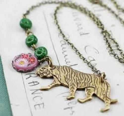 Brass tiger necklace vintage pink cabochon