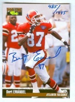 Bert Emanuel certified autograph Atlanta Falcons 1995 Pro Line card