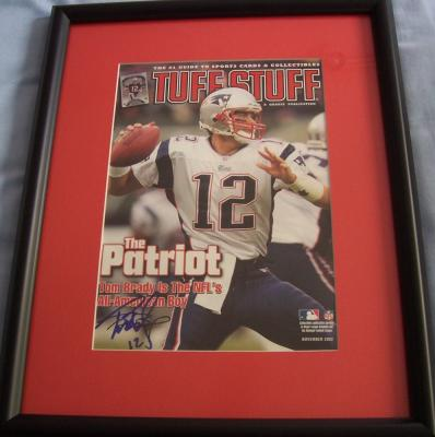 Tom Brady autographed New England Patriots magazine cover matted & framed