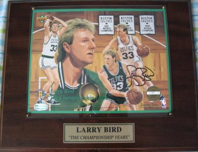 Larry Bird autographed Boston Celtics commemorative UDA sheet in plaque