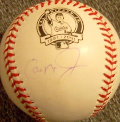 Cal Ripken autographed MLB retirement baseball (faded)