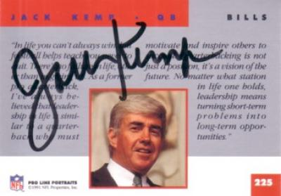 Jack Kemp autographed Buffalo Bills 1991 Pro Line card