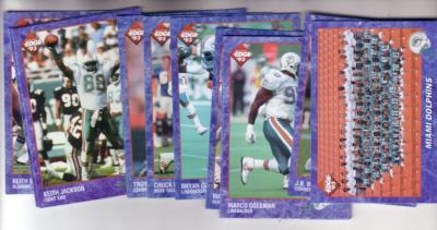 1993 Miami Dolphins Edge team card set (Dan Marino O.J. McDuffie)