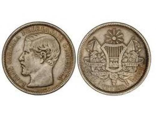 Coins; GUATEMALA - 1 Peso. 1864-R. AR. Rafael Carrera