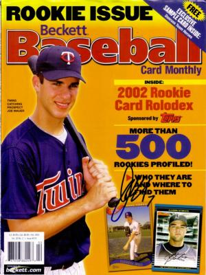Joe Mauer autographed Minnesota Twins 2003 Beckett Baseball cover