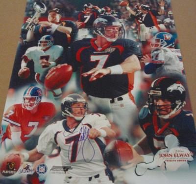 John Elway autographed Denver Broncos 16x20 poster size collage photo