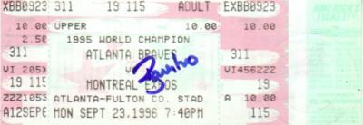 Ryan Klesko autographed Atlanta Braves 1996 ticket