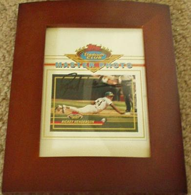 Rickey Henderson autographed Oakland A's Topps Master Photo framed