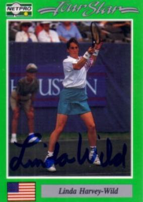 Linda Harvey-Wild autographed 1991 Netpro tennis card