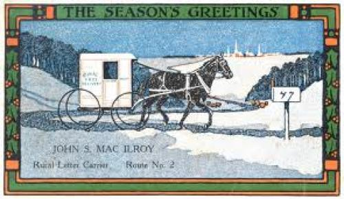 Christmas postcard from Pittstown, New Jersey rural carrier John S. MacIlroy