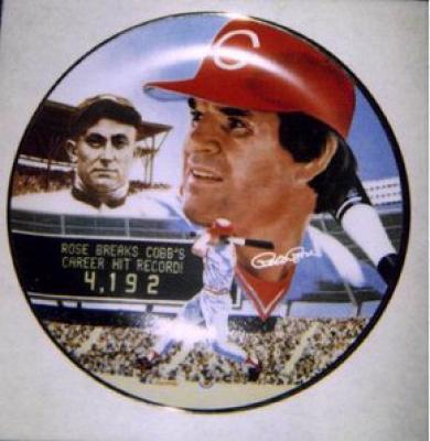 Pete Rose autographed Cincinnati Reds Hit 4192 Gartlan plate