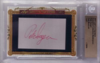 Pete Seeger certified autograph 2011 Leaf Executive Masterpiece Cut Signature card #1/1