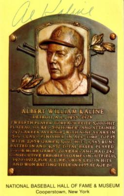 Al Kaline autographed Baseball Hall of Fame plaque postcard