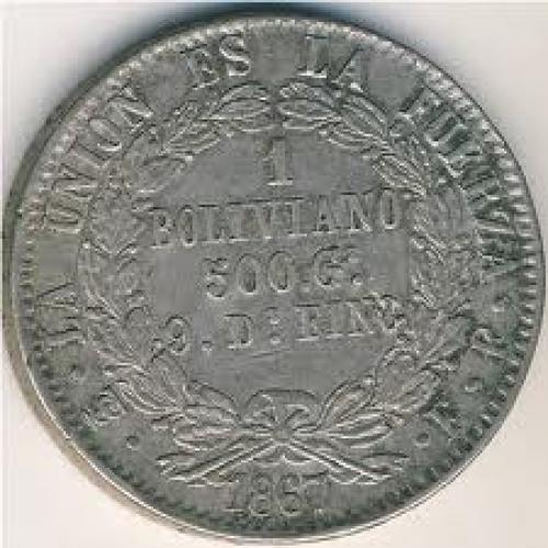 Coins;  Bolivia, 1 boliviano, 1867–1869