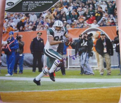 Justin McCareins autographed New York Jets calendar page