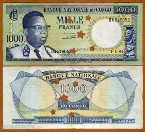 Congo D.R., 1000 Francs, 1964
