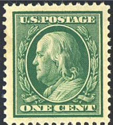 Stamps; US stamp 1908 1c Franklin