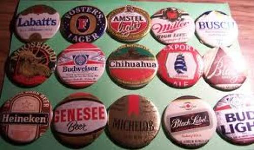 Breweriana; Actual beer labels cut out and made into buttons.
