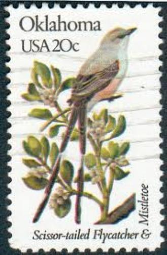 Stamps;  Oklahoma, USA with a Scissor-tailed