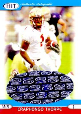 Craphonso Thorpe certified autograph Florida State 2005 SAGE card