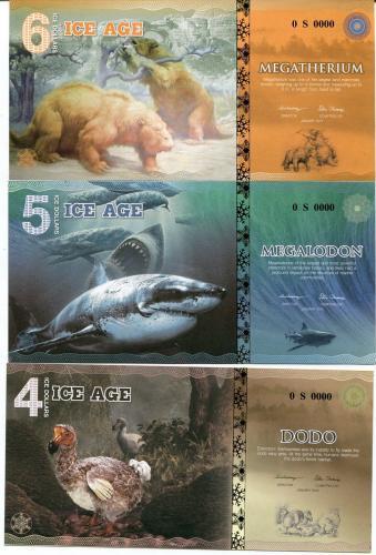 ICE AGE PAPER SET 3 PCS 4 5 6 ICE DOLLARS BIRD BEAR SHARK 2015 SPECIMEN UNC