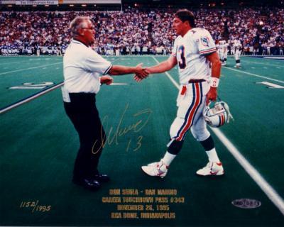 Dan Marino autographed Miami Dolphins 8x10 TD Pass #343 UDA photo with Don Shula #1152/1995