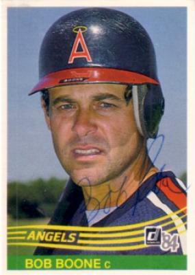 Bob Boone autographed Angels 1984 Donruss card