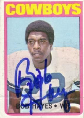 Bob Hayes autographed Dallas Cowboys 1972 Topps card