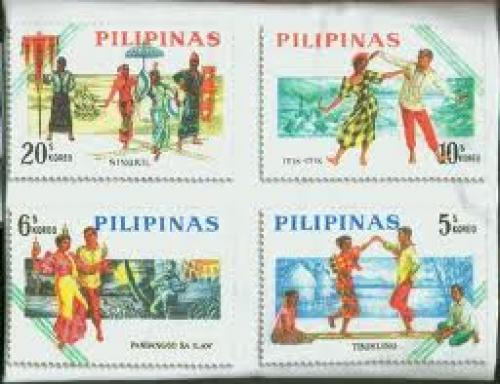 Philippine stamps; Folk dances; Tinikling dance
