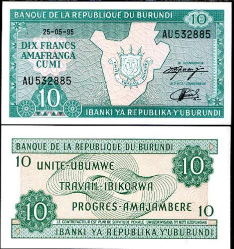 BURUNDI 10 FRANCS 1995 P 33 UNC