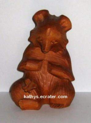 Carved Wood Grizzly Bear w Butterfly Animal Figurine