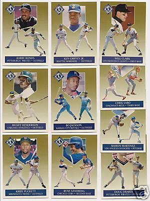 1991 Ultra Team 10 insert card set (Will Clark Ken Griffey Jr. Kirby Puckett Ryne Sandberg)